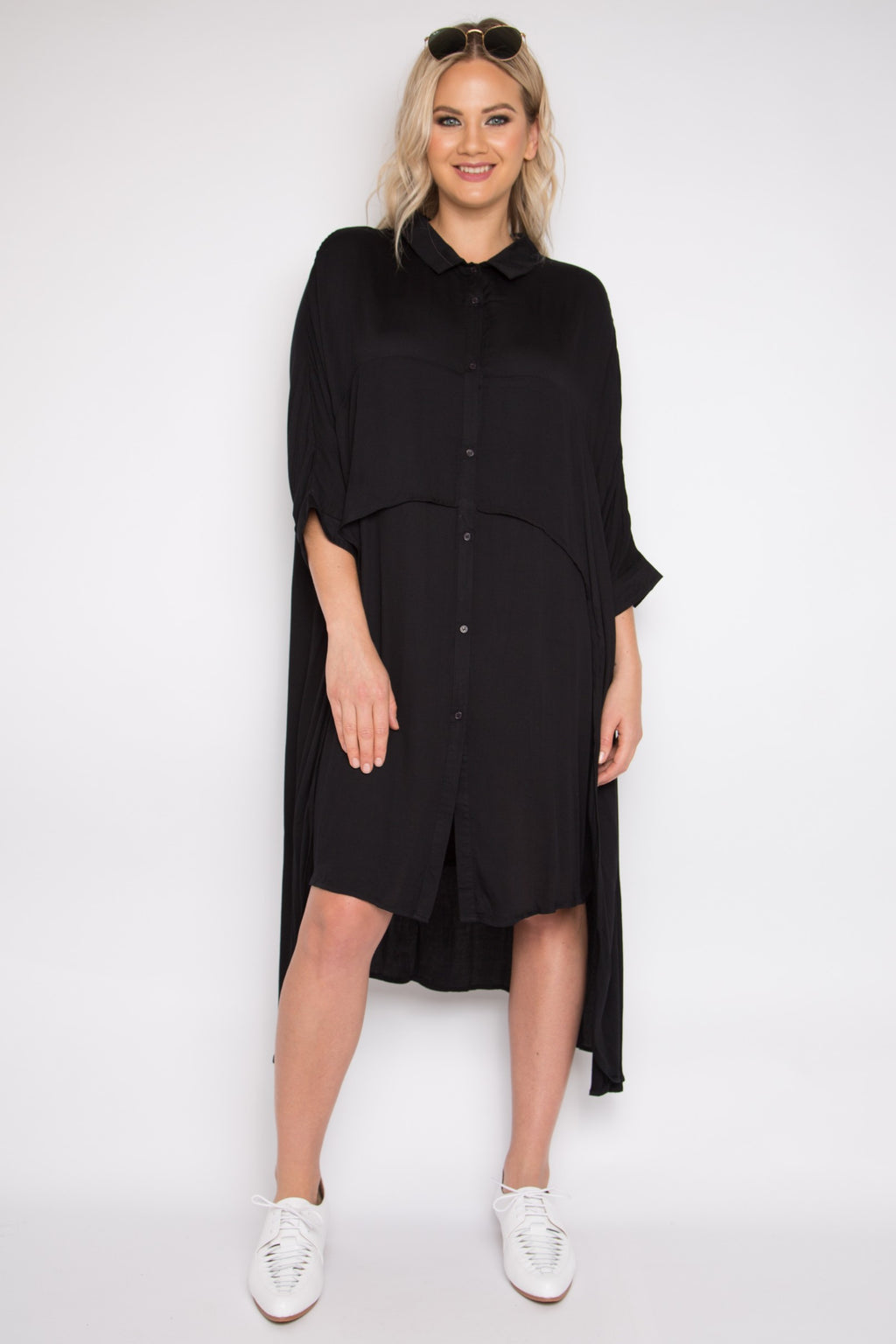 Cascade Shirt Dress in Black