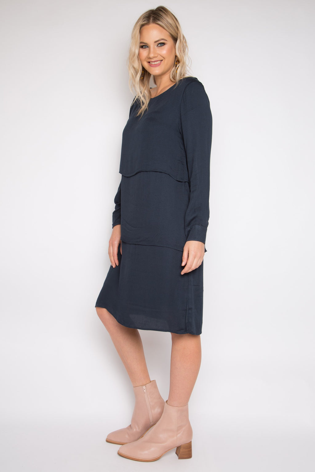 Long Sleeve Layer Dress in Midnight