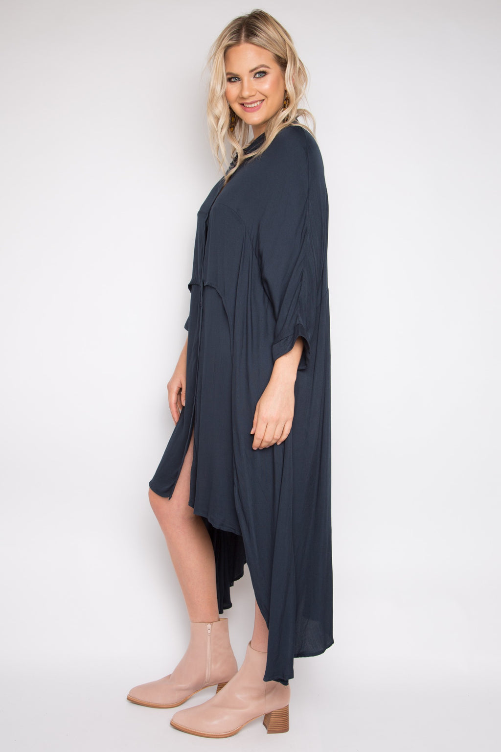 Cascade Shirt Dress in Midnight