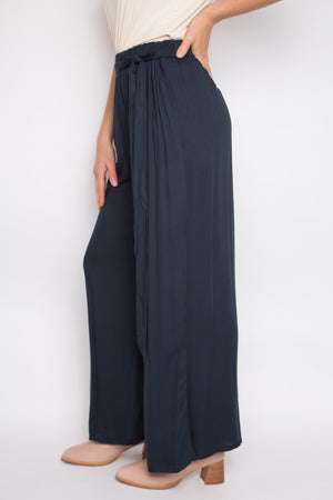 Tie Front Wide Leg Pant in Midnight