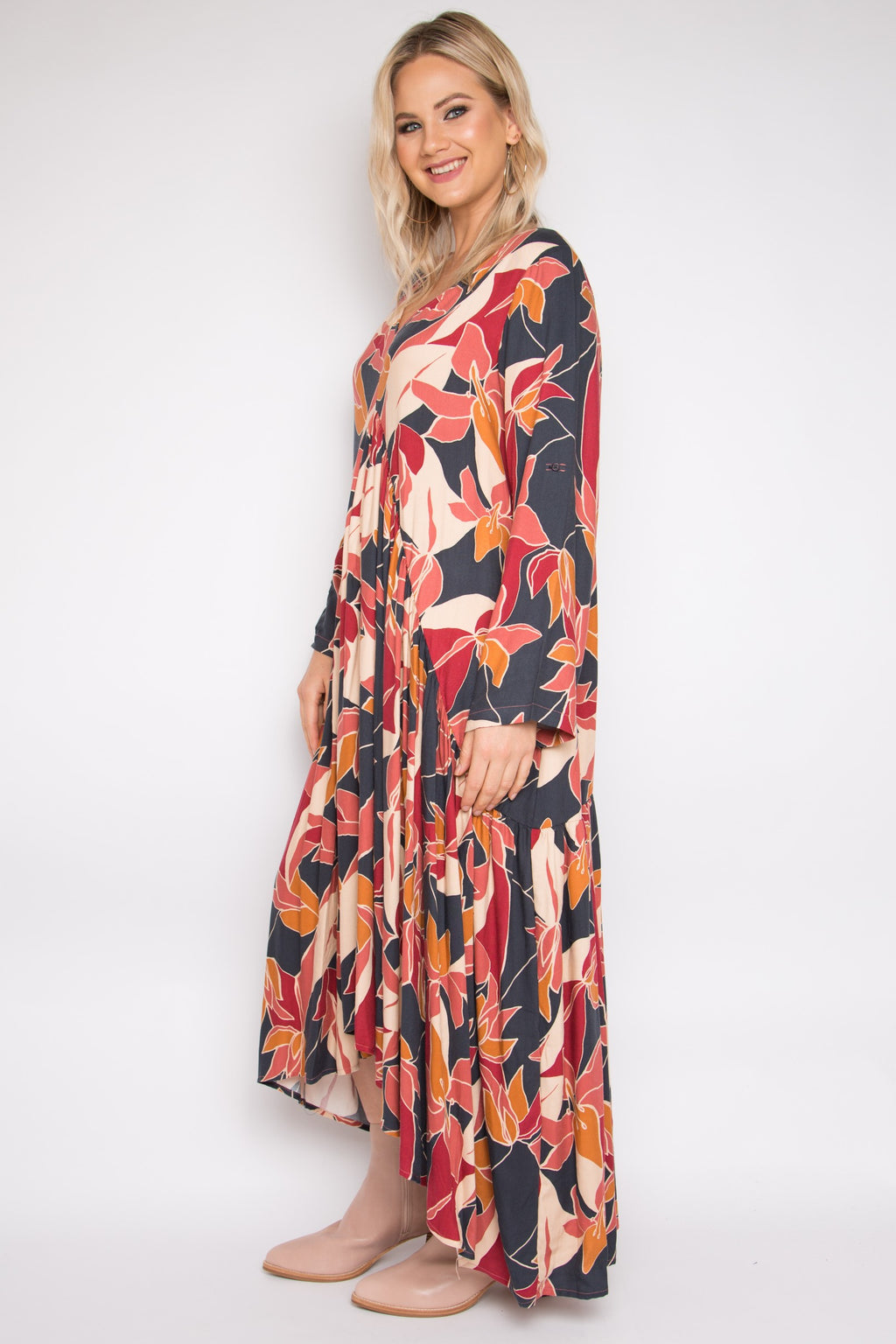 Long Sleeve Peak Maxi Dress in Wild Chai