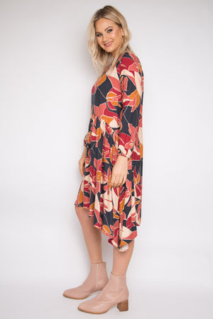 Long Sleeve Flounce Dress in Wild Chai
