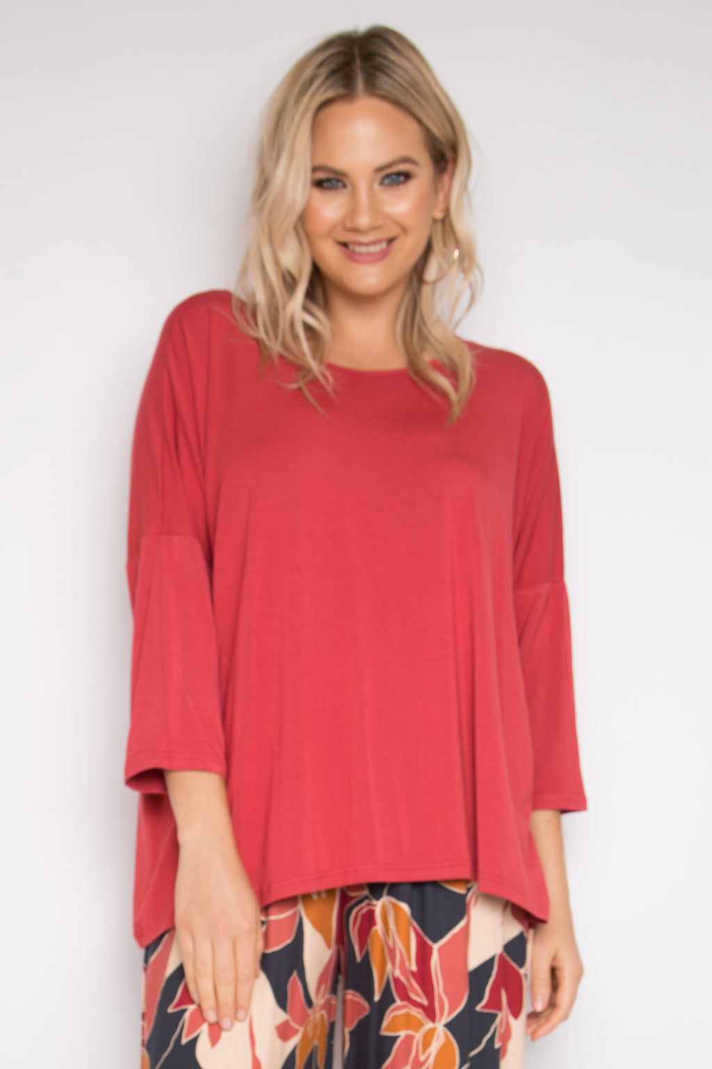 Bamboo Long Sleeve A Nice Top in Rhubarb