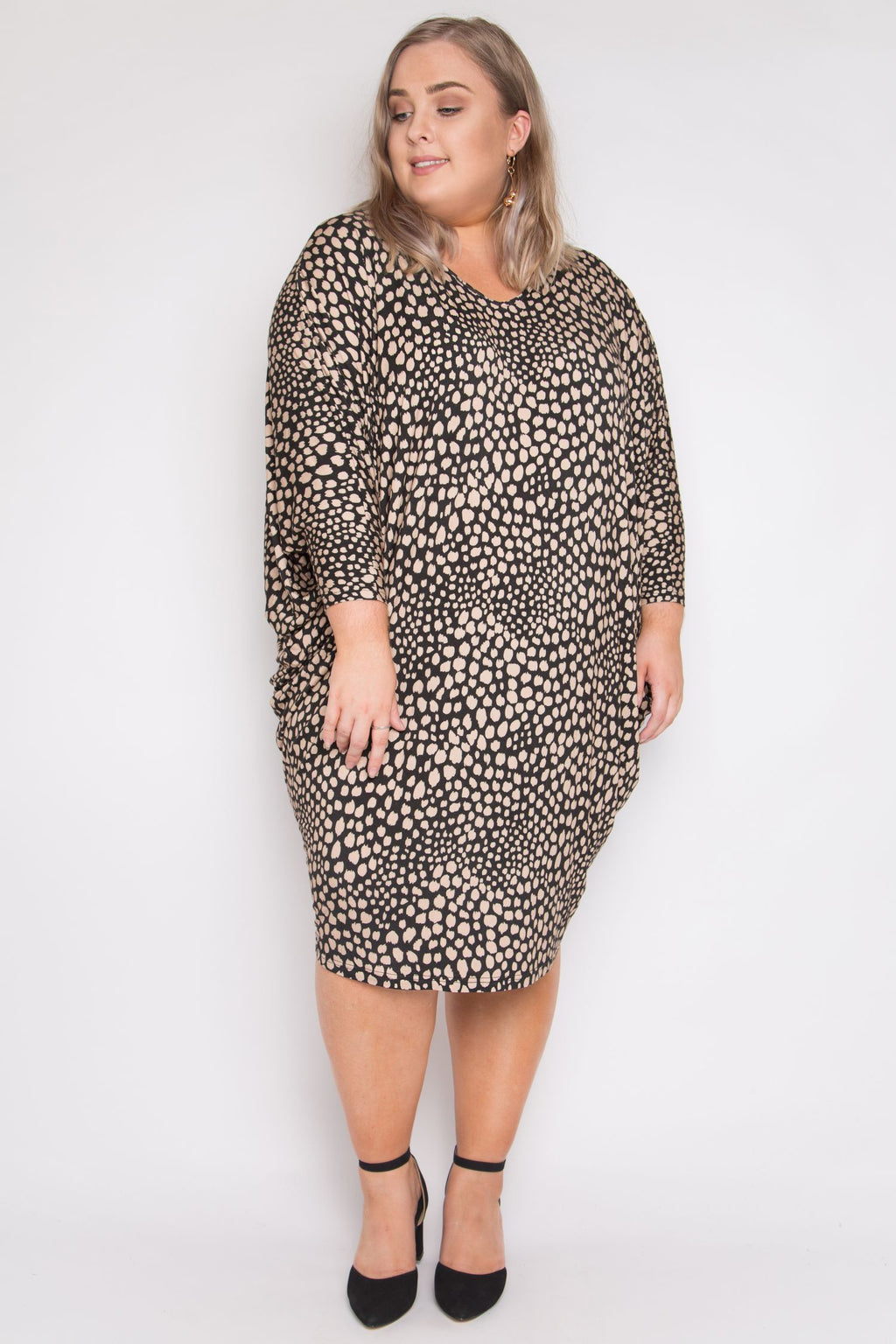 Curve Long Sleeve Miracle Dress in Spiced Latte