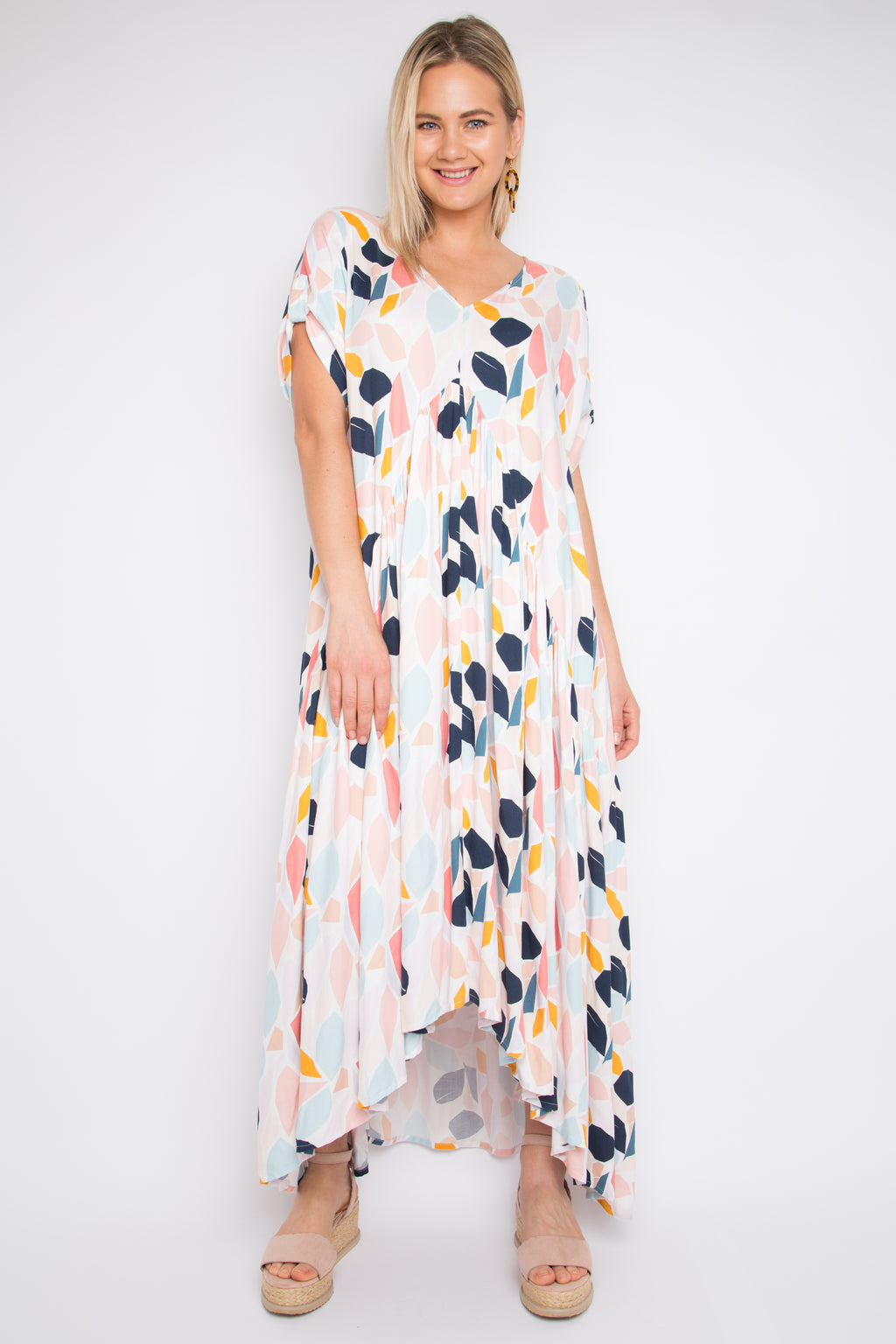 Short Sleeve Peak Maxi Dress in Pastel Petal