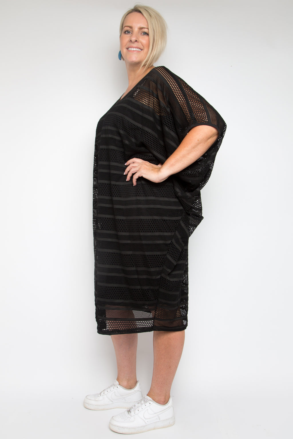 Curve Mesh Miracle Dress in Black Stripe