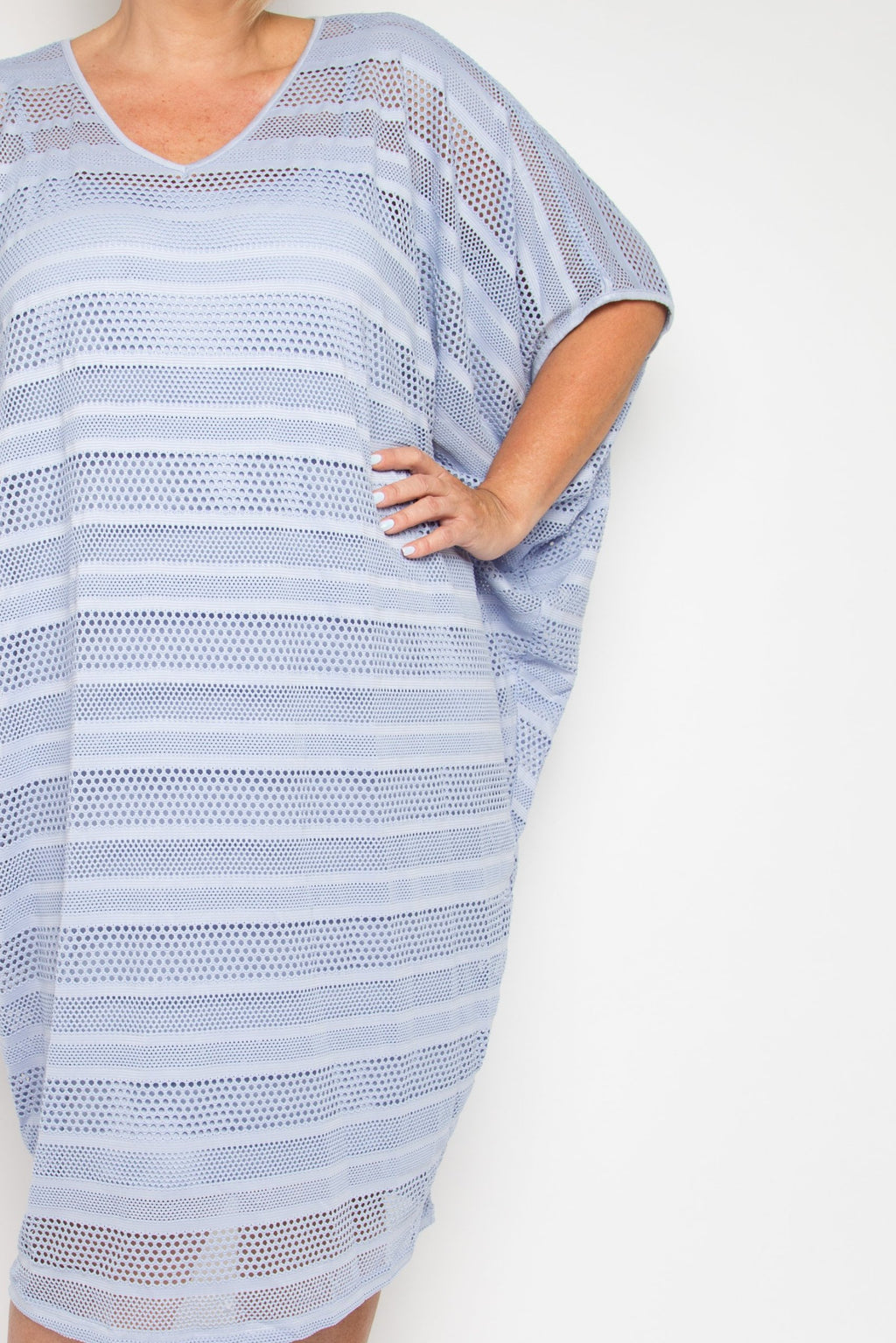 Curve Mesh Miracle Dress in Lilac Stripe