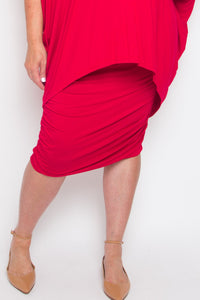 Curve Ruche Skirt in Cherry Soda (bamboo)