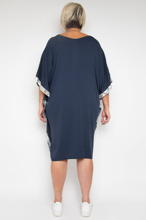 Sequinned Kafdress in Navy / Silver