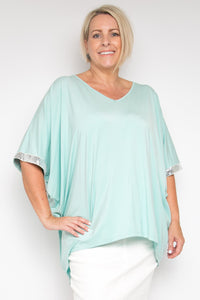 Curve Sequinned Hi Low Miracle Top in Oasis