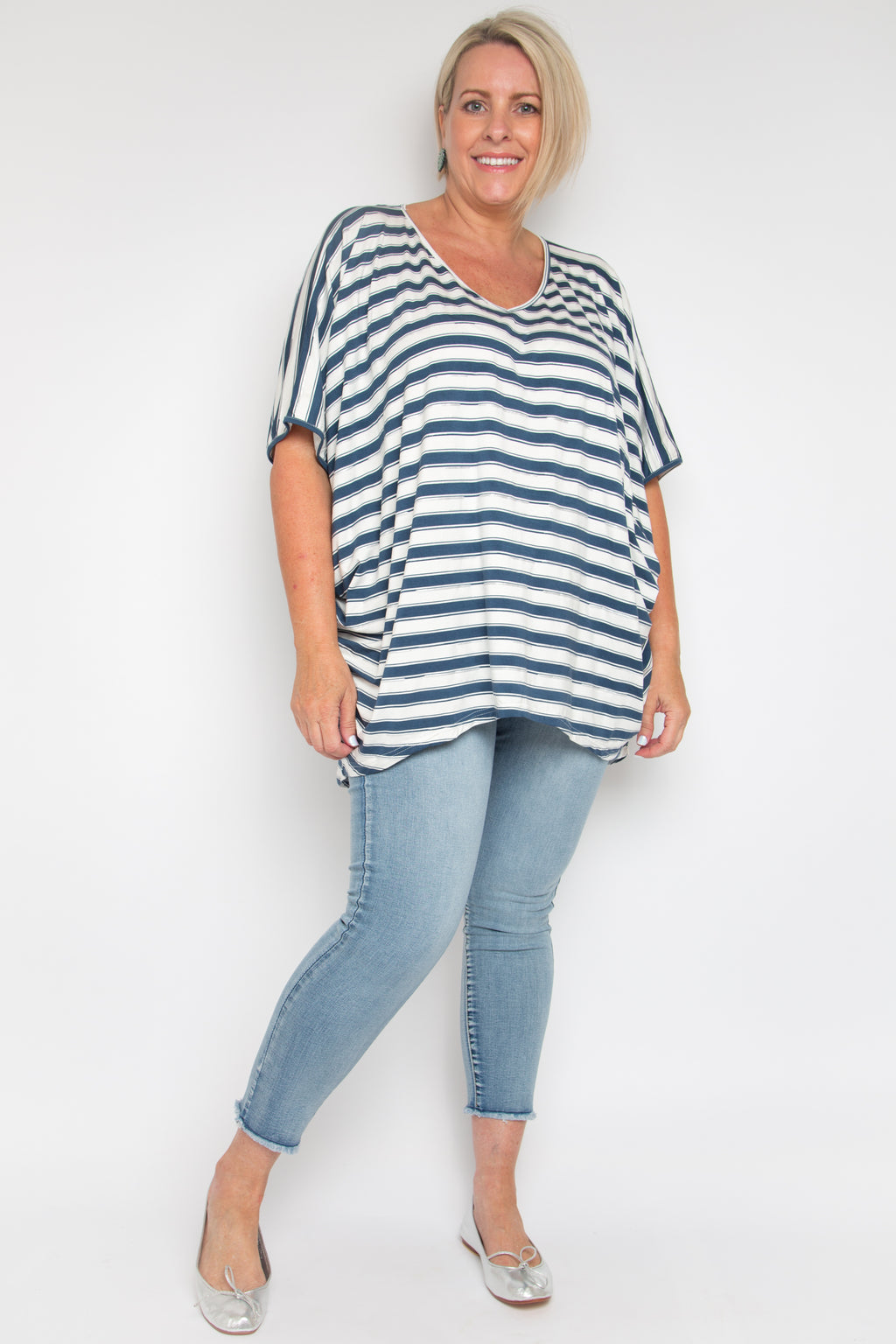 Curve Hi Low Miracle Top in Silver Navy Stripe