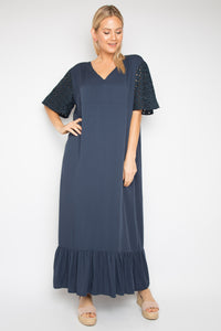 Eloquence Maxi Dress in Navy Anglaise