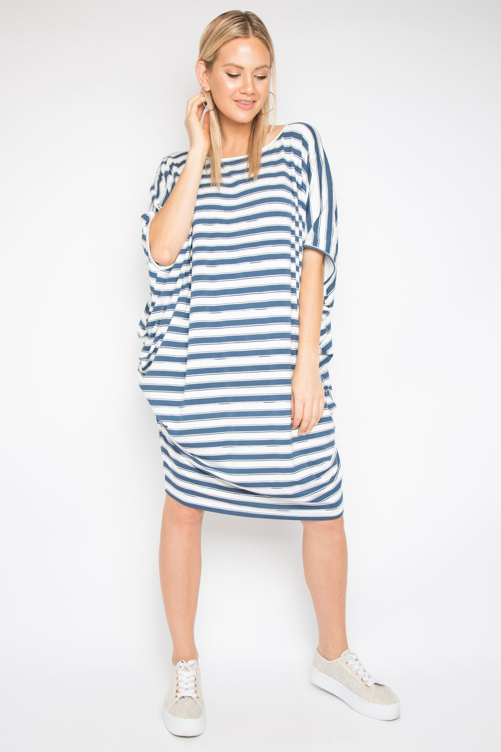 Original Miracle Dress in Silver Navy Stripe