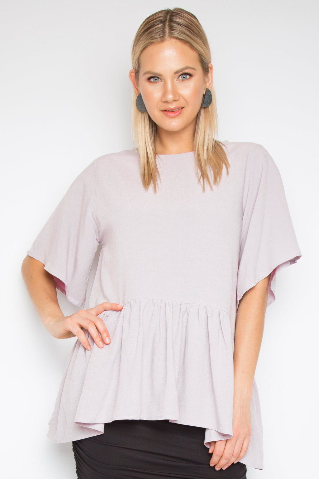 Flute Top with Sleeves in Rosewater