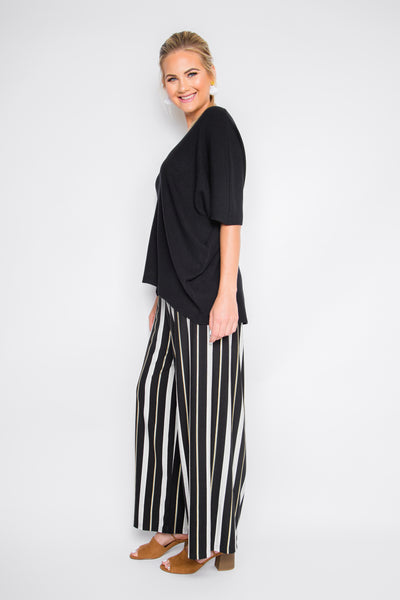 Wide Leg Pant in Golden Sage Stripe