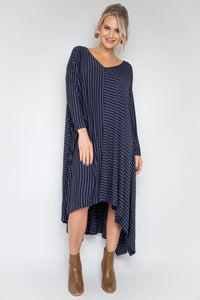 The Ultimate Dress in Navy Pinstripe
