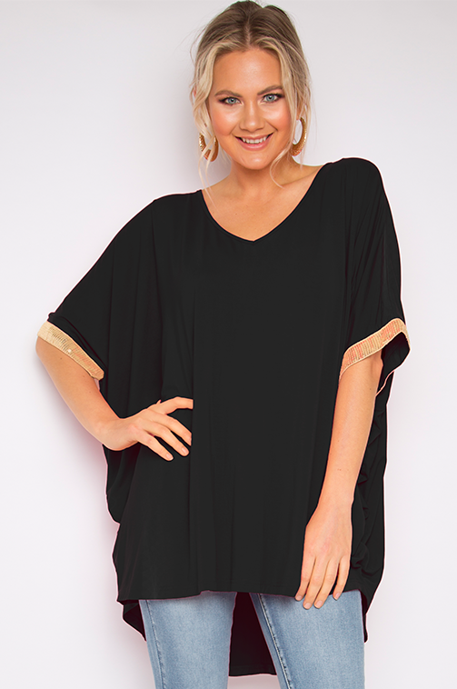 Sequinned Hi Low Miracle Top in Black