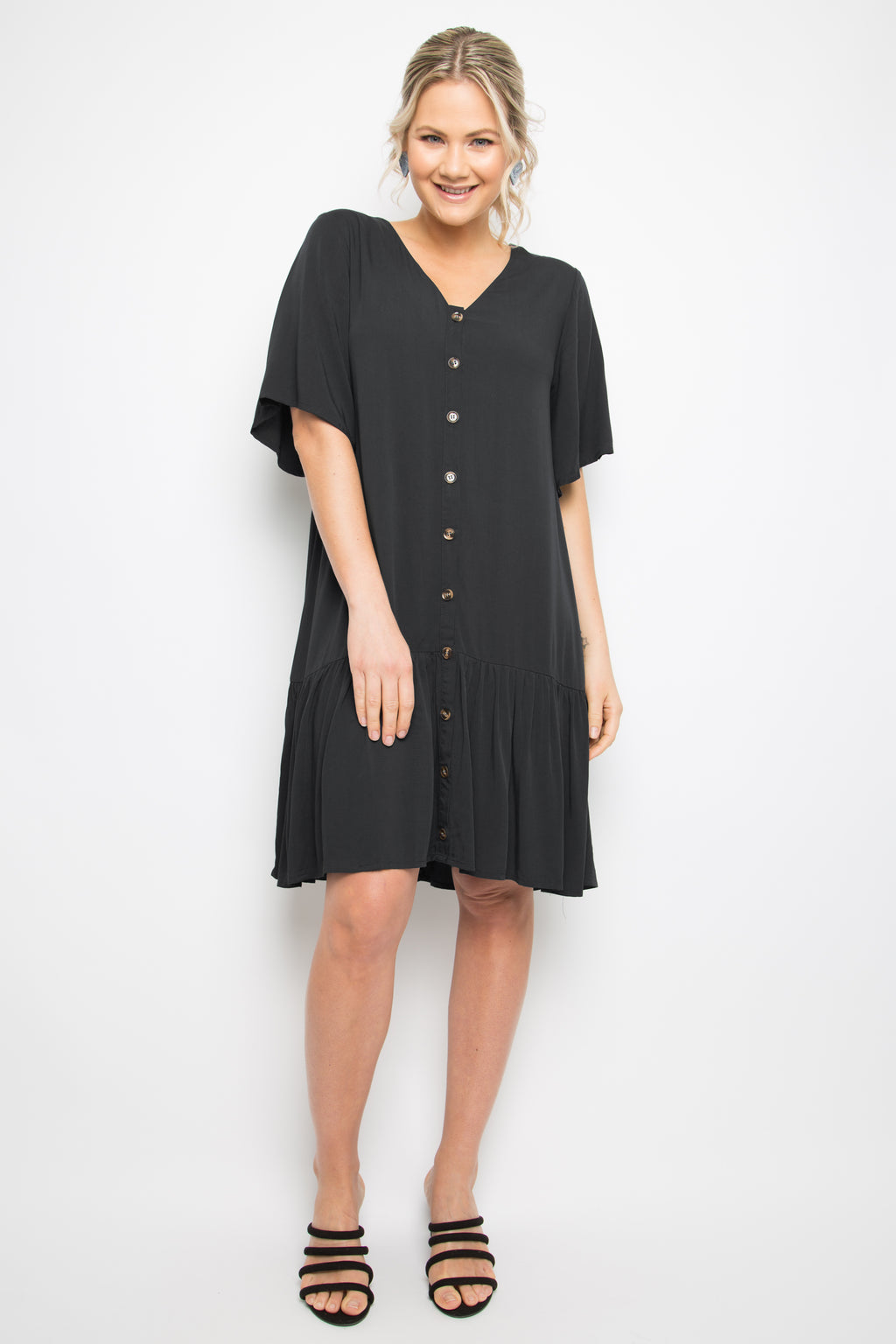 Button Down Frill Dress in Black