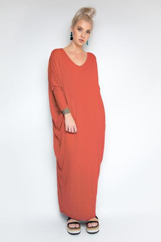 Bamboo Long Sleeve Maxi Miracle Dress in Cayenne