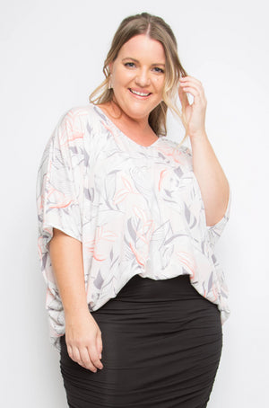 Hi-Low Miracle Top in Pink Palm