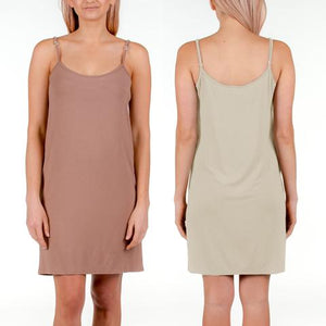 Bamboo Slip Dresses - Nude or Black