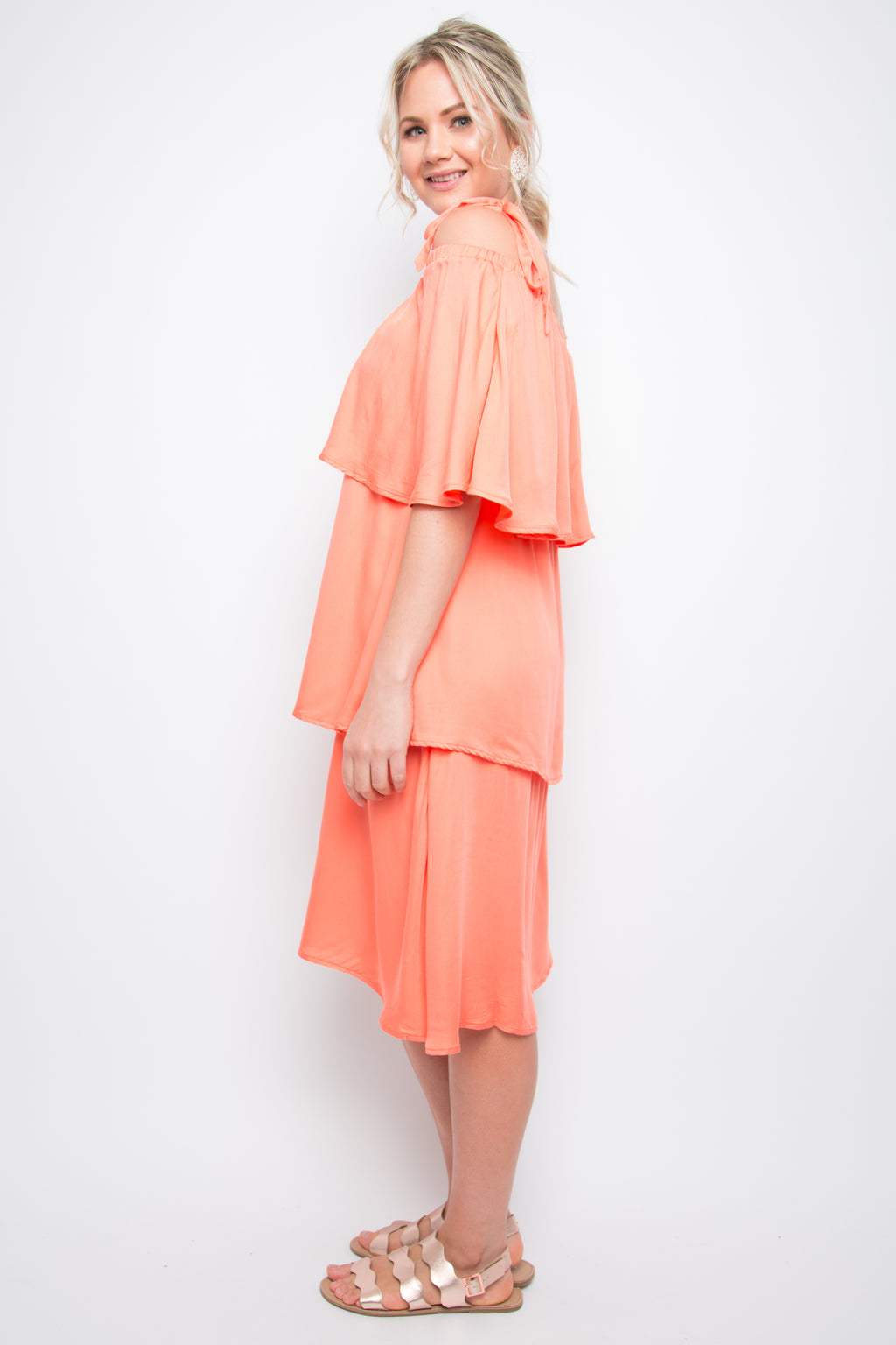 Layer Frill Dress in Coral