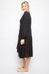 Long Sleeve Drawstring Dress in Black Dot