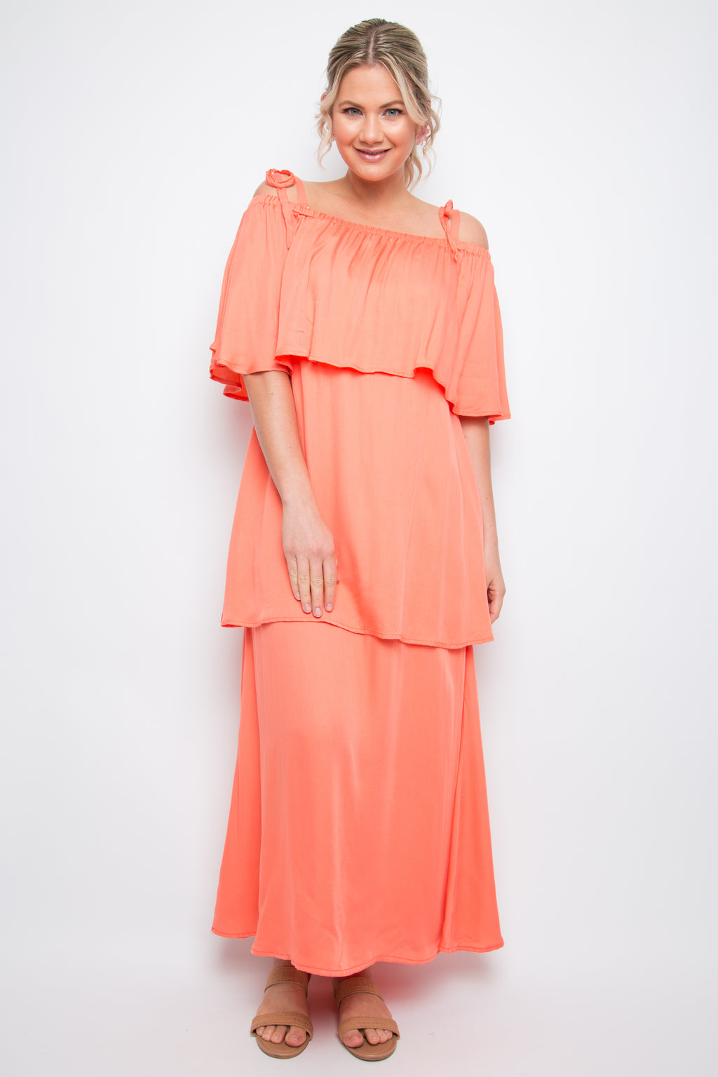 Maxi Layer Frill Dress in Coral
