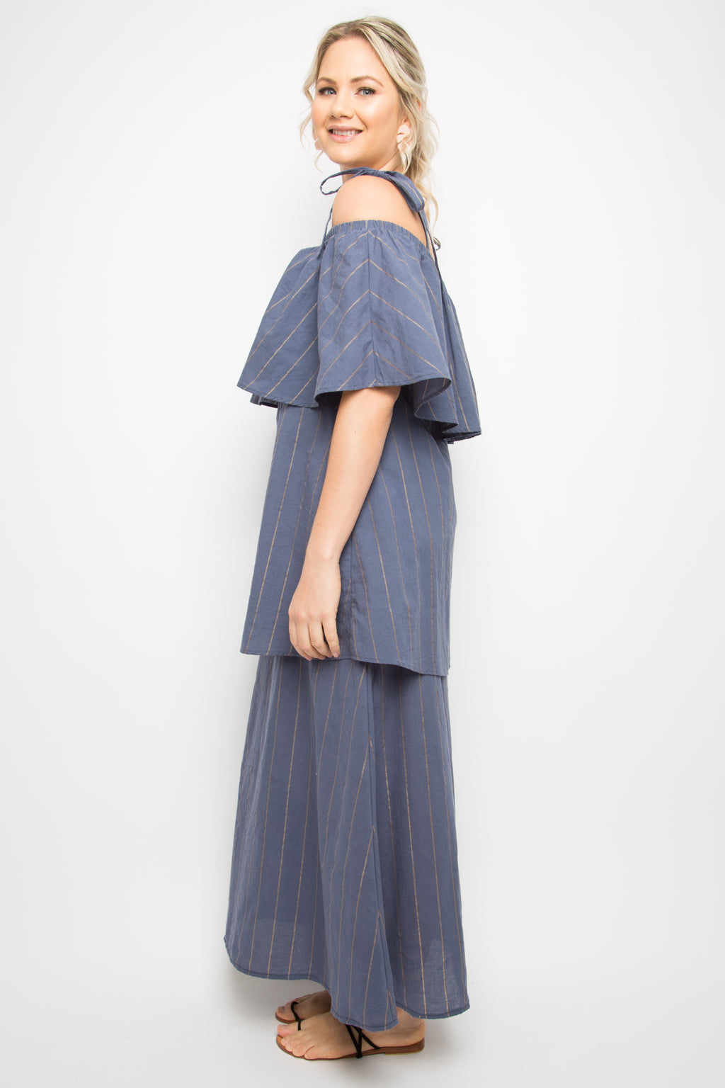Maxi Layer Frill Dress in Navy Sunbeam