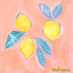 Sorrento Lemons— 8x8 on wood panel