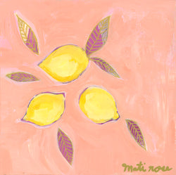 Monte Isola Lemons- 8x8 on wood (free shipping in US)