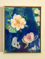 """Peony Blooms Forever"" :: with Custom Maple Frame:: 17x21"