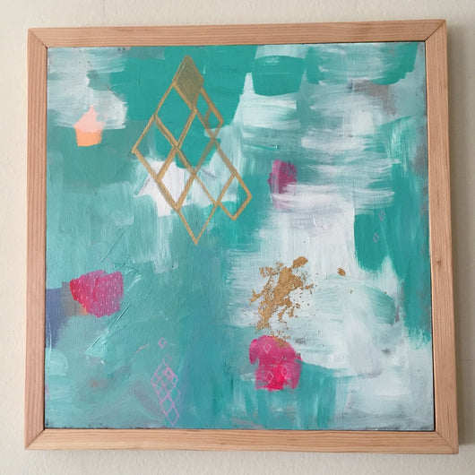 Turquoise Sky with Bougainvillea 14x14
