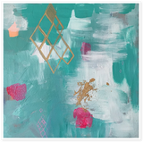 "Turquoise Sky with Bougainvillea 14x14"" with custom wood panel"