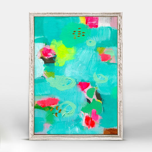 Turquoise Lime Rose- Giclee on Canvas