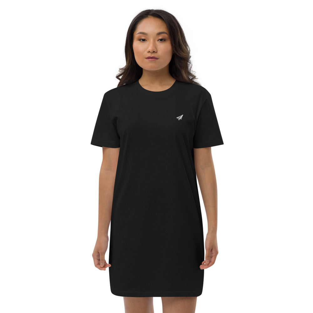 Kosan Eats T-Shirt Dress Black Embroidered Airplane