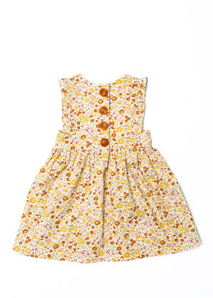 The Harper Pinafore in Mustard Floral