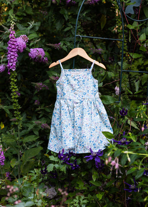 The Heather Dress in Blueberry Floral