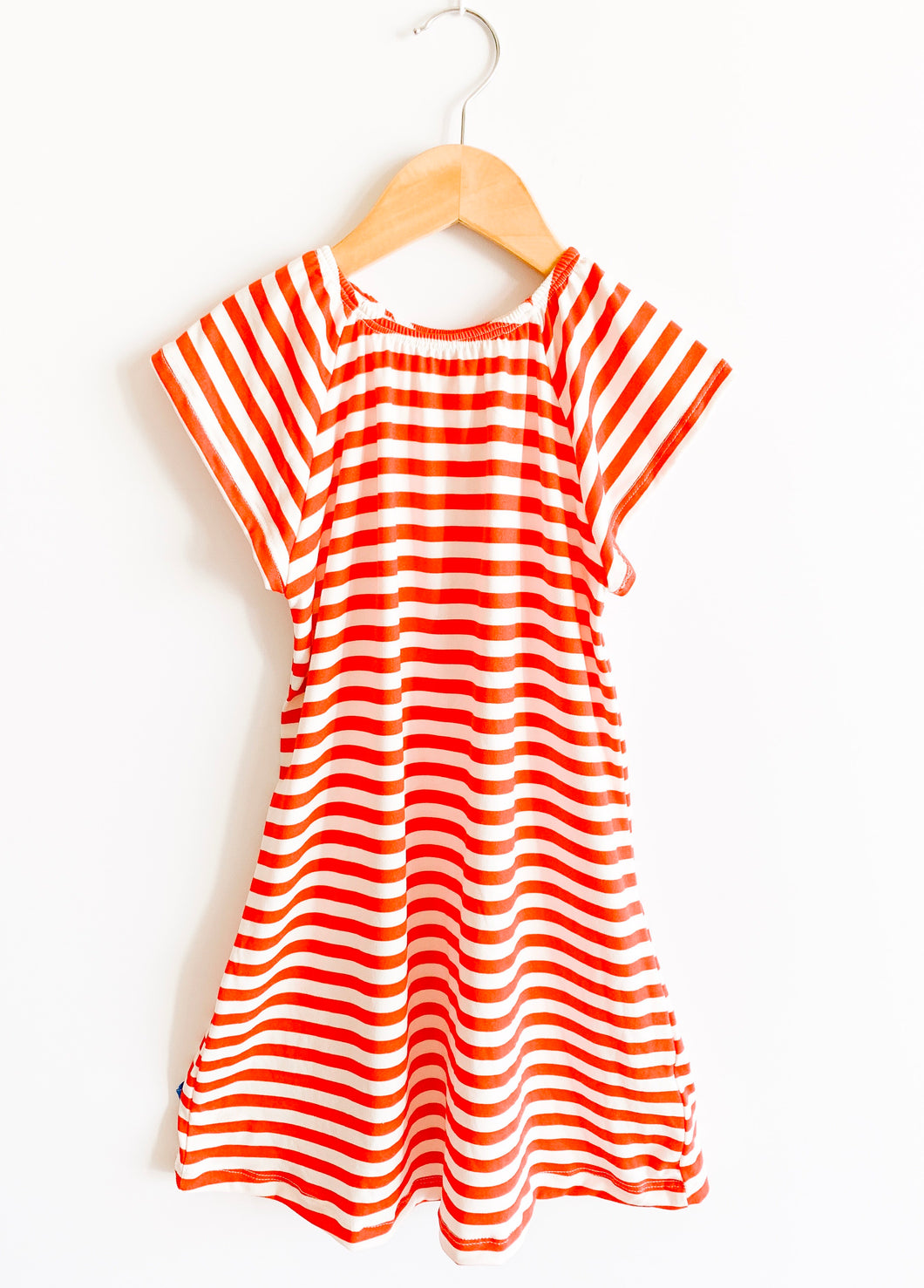 Flutter Sleeve Nightgown in Red Stripe