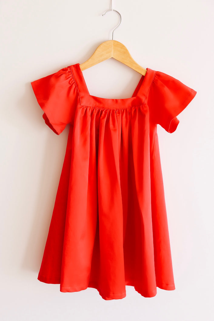 The Holly Dress in Cherry Red