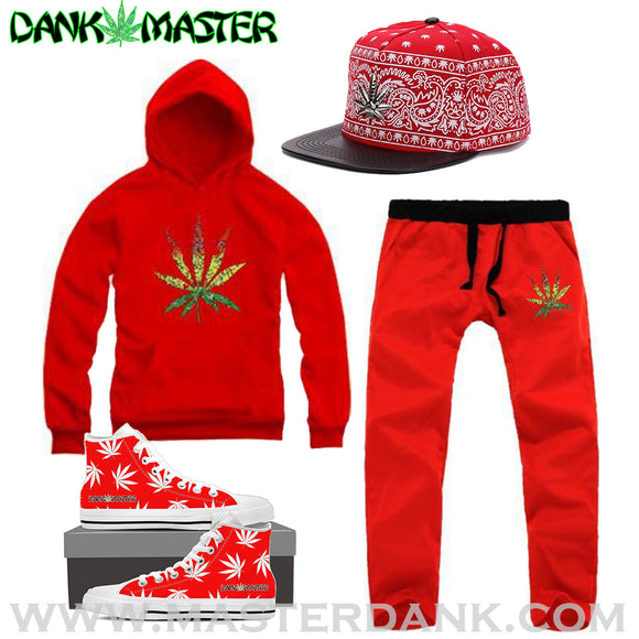 Red Weed Tracksuit Outfit