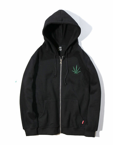 dank master Simple Weed Leaf Embroidery hoodie