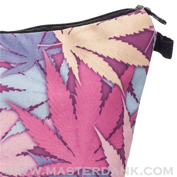 Dank Master 420 Apparel weed clothing, marijuana fashion, cannabis shoes, and hats for stoner men and women pink pouch makeup bag
