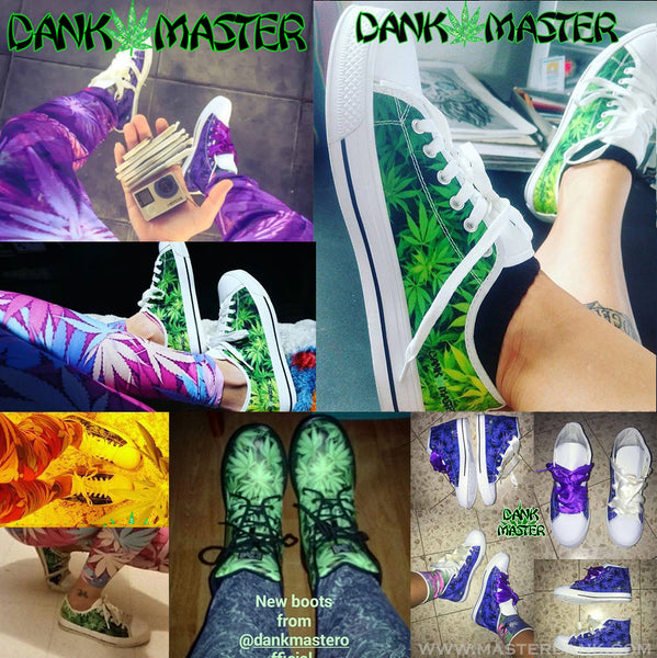 Dank Master custom shoes customers 420 Apparel weed clothing, marijuana fashion, cannabis shoes, stoner men and women.