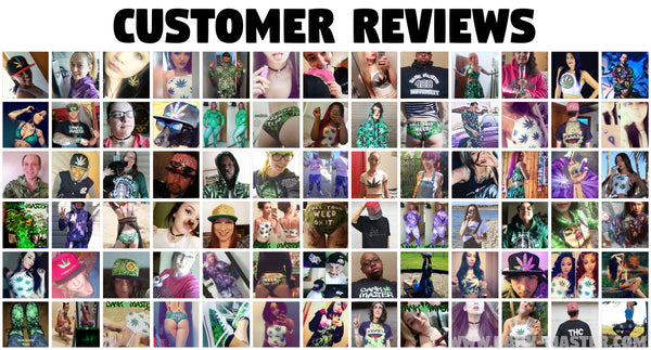 Dank Master customer reviews 420 Apparel weed clothing, marijuana fashion, cannabis shoes, hoodies, pot leaf shirts and hats for stoner men and women.