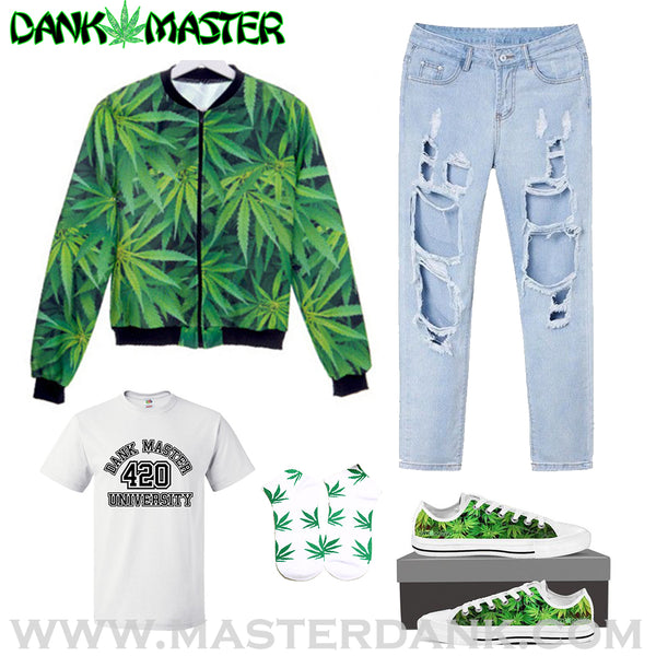 Dank Master 420 Apparel weed clothing, marijuana fashion, cannabis shoes, hoodies, pot leaf shirts and hats for stoner men and women.