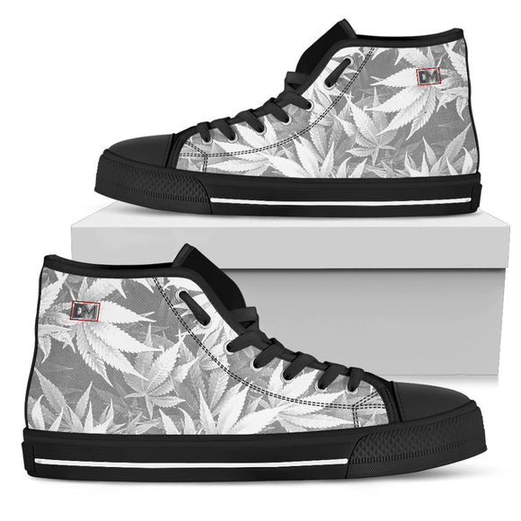 Dank Master OG White Custom Weed Leaf Canvas Hi Top Shoes (black sole)