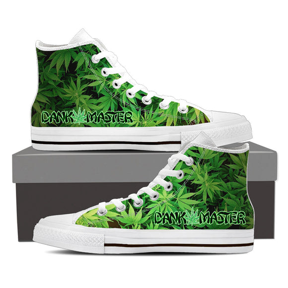 Dank Master Green Weed Leaf High Top Canvas Shoes