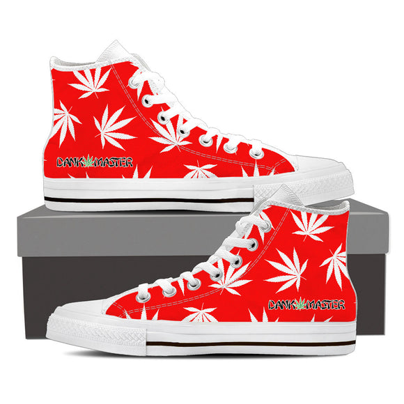 Dank Master Weed High Top Canvas Shoes - Red