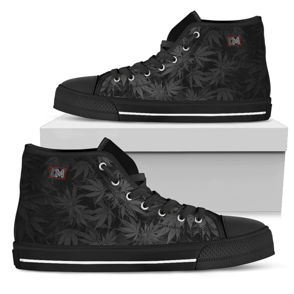Dank Master OG Black Weed Leaf High Top Canvas Shoes Sneakers - Black - Dank Master
